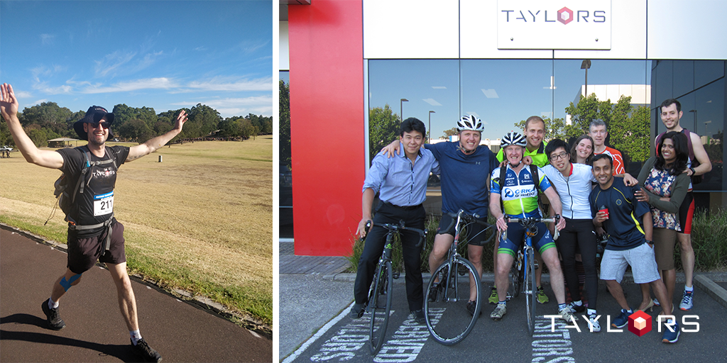 Taylors team members taking responsibility and taking part in the Oxfam Trailwalk and Ride 2 Work Day